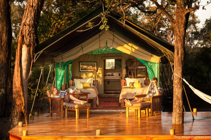 You stay in luxurious safari tents, with running water and flush toilets!